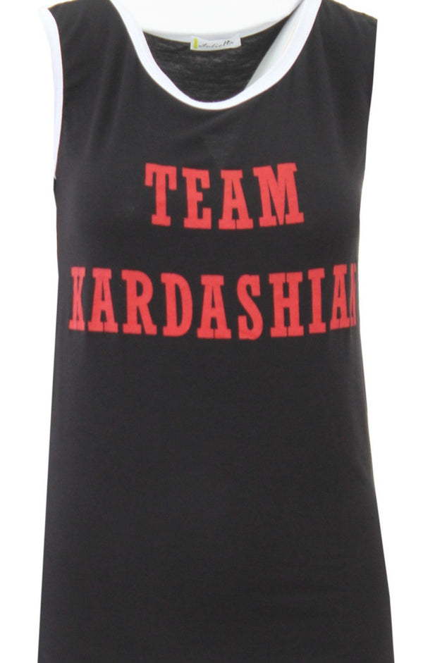 Team Kardashian Vest Top - Black - Miss Vanilla