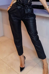 PU Paperbag Trousers