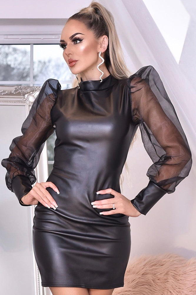 Mesh Sleeve Leatherette Dress