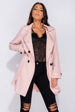 Pink Belted Mac Coat