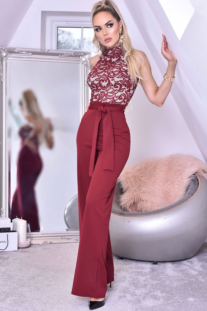 High Neck Lace Jumpsuit