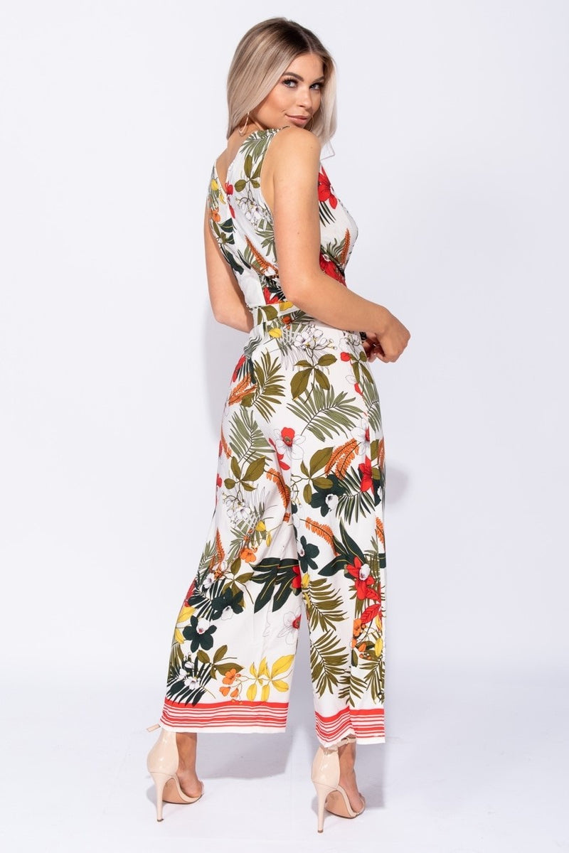 Floral Border Wrap Jumpsuit - Miss Vanilla
