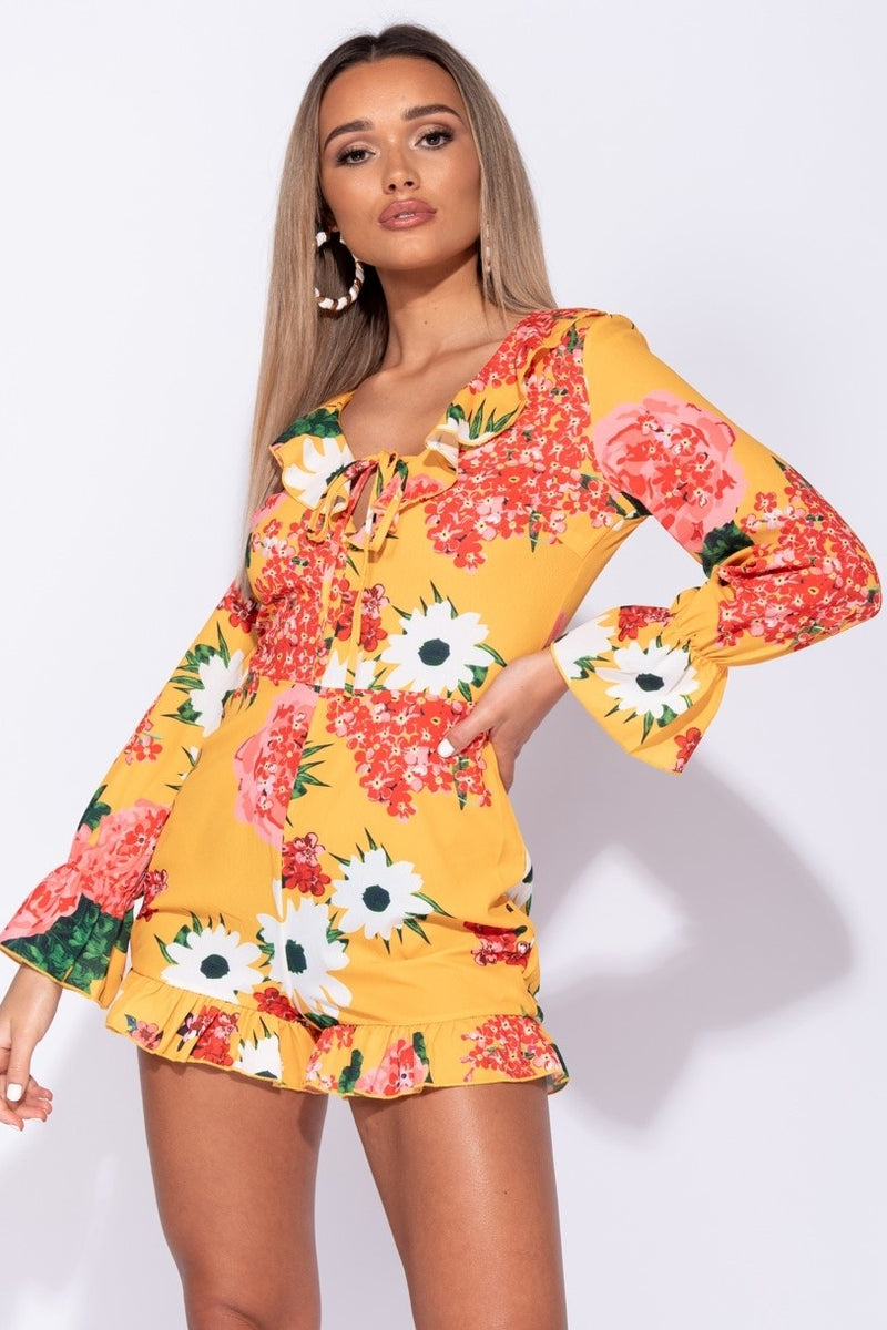 Yellow Floral Tie Playsuit - Miss Vanilla