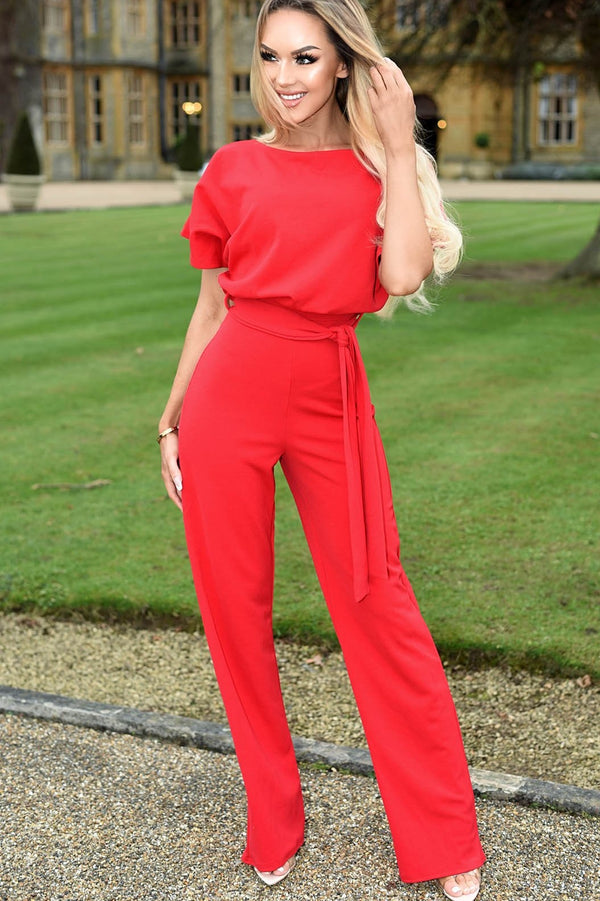 Red Batwing Jumpsuit