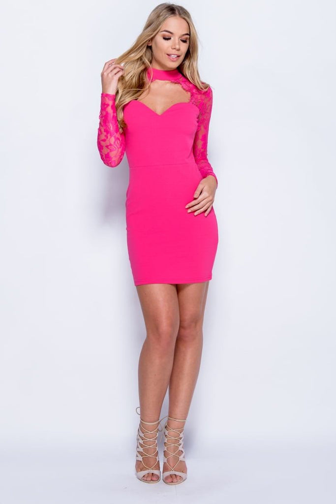 Lace Choker Dress - Fuchsia