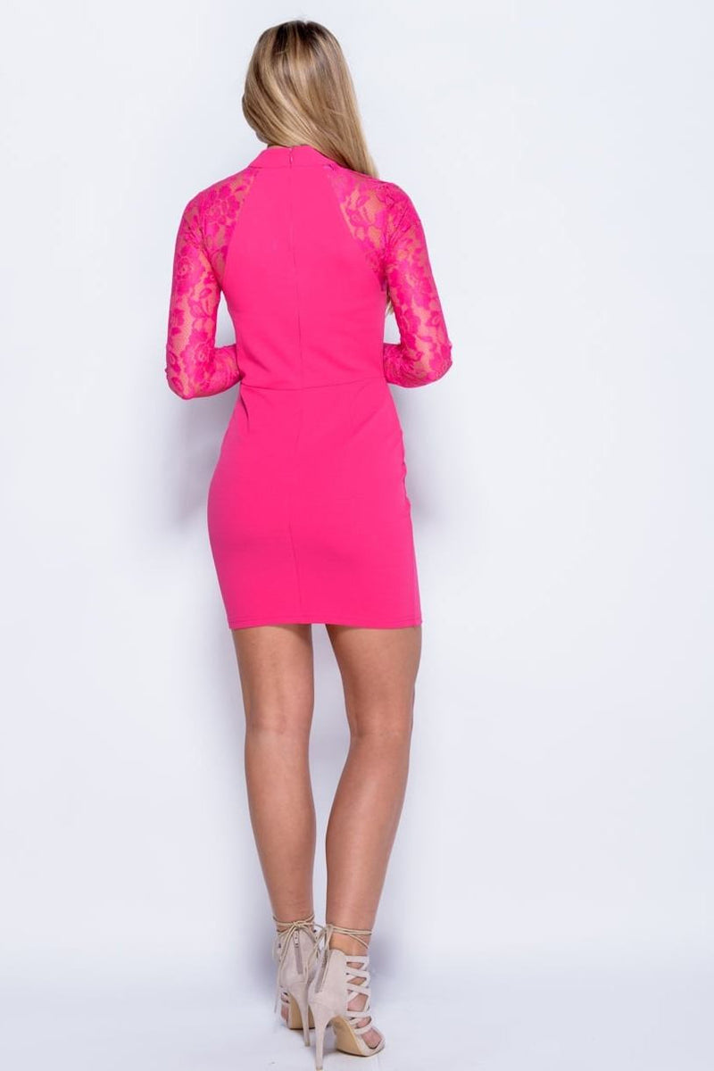 Lace Choker Dress - Fuchsia - Miss Vanilla