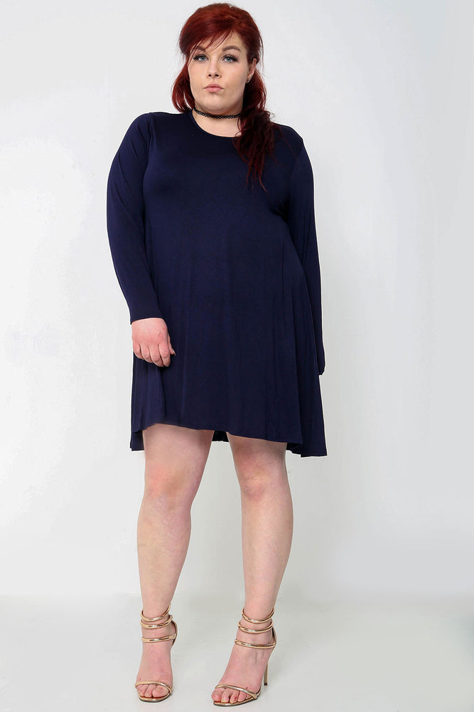 Plus Swing Dress - Navy - Miss Vanilla