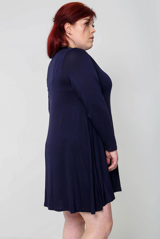 Plus Swing Dress - Navy