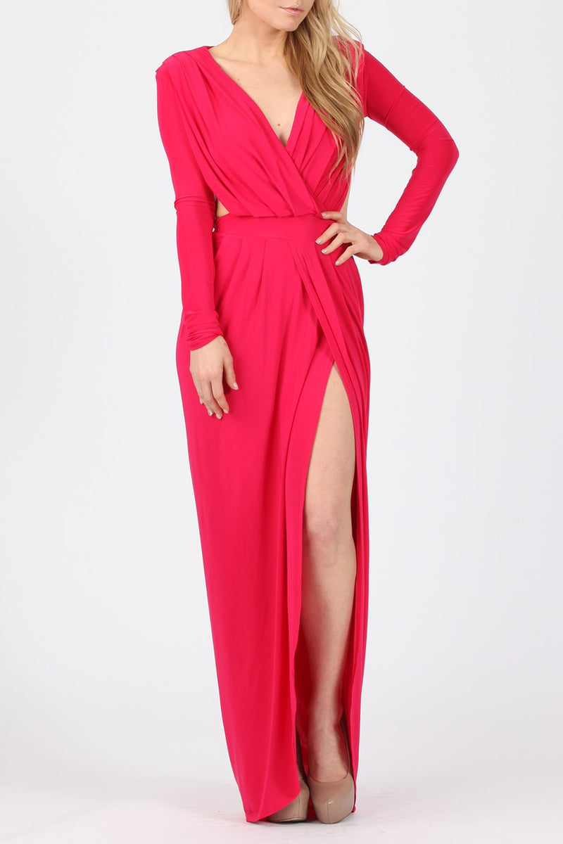Goddess Maxi Dress - Cerise - Miss Vanilla