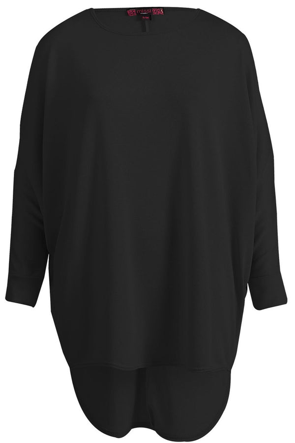 Oversized Melange Top - Black - Miss Vanilla