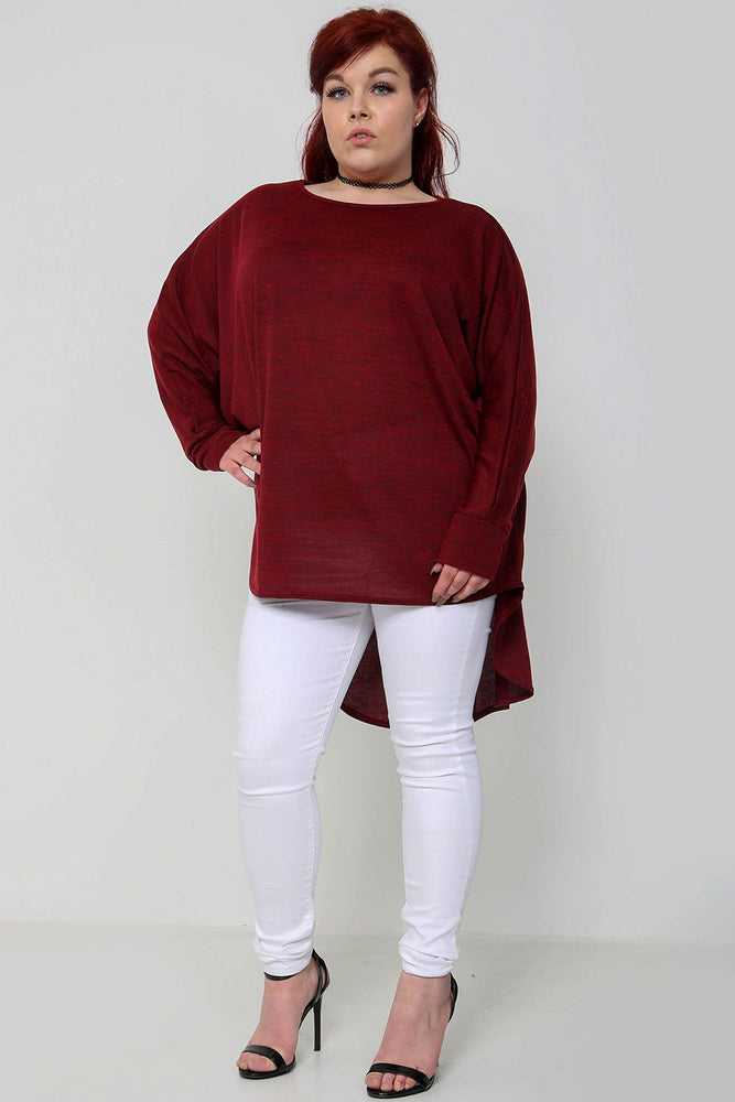 Oversized Melange Top - Wine