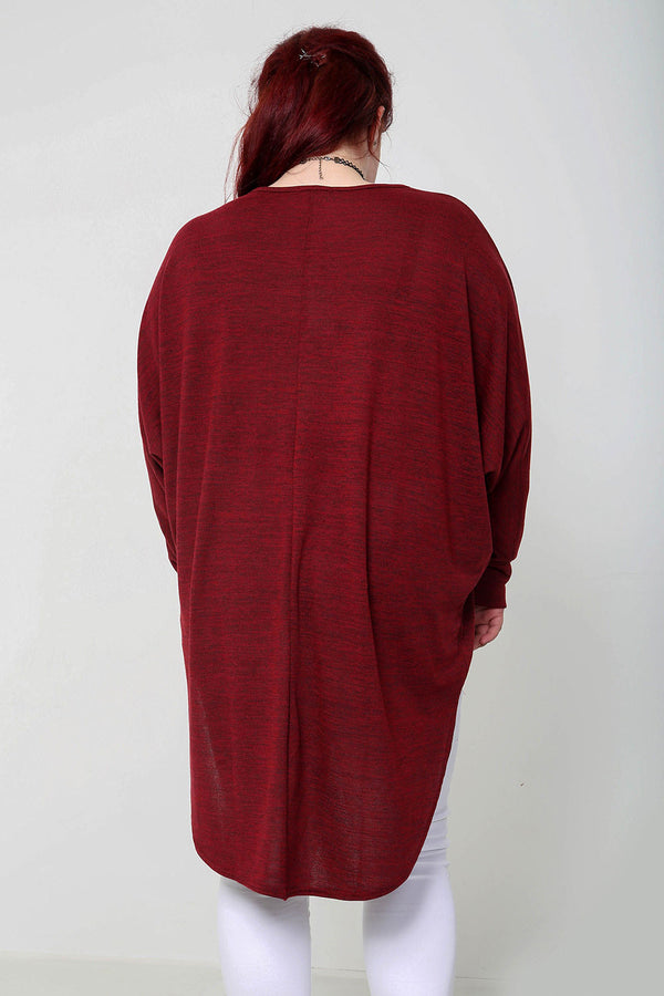 Oversized Melange Top - Wine - Miss Vanilla
