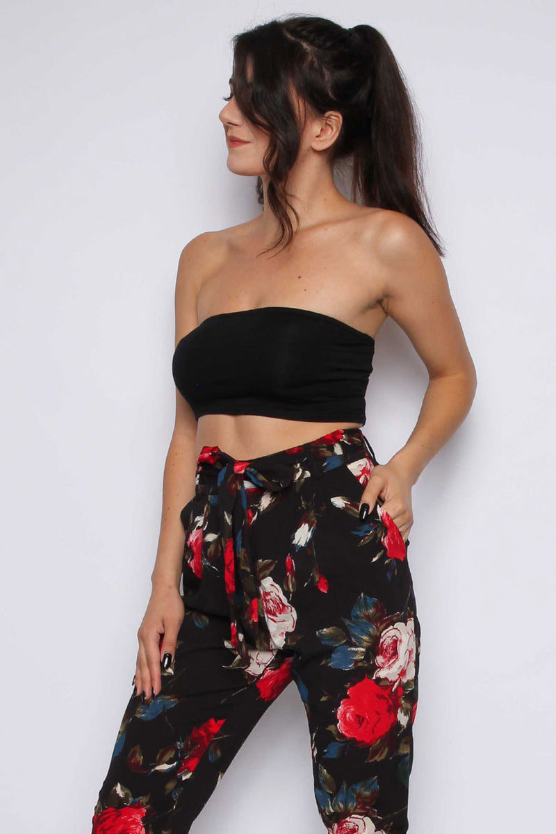 Floral Belt Trousers - Miss Vanilla