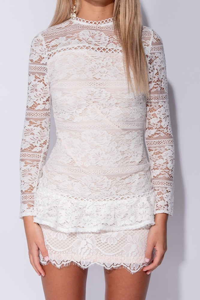 Multi Lace Frill Dress