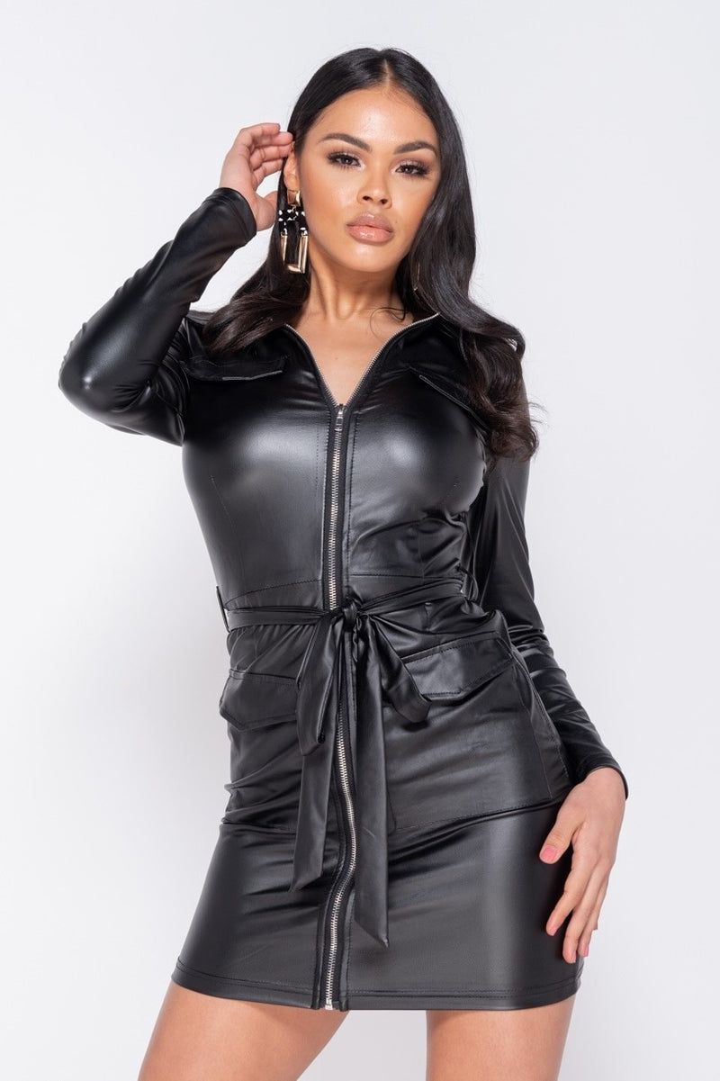 PU Zip Dress