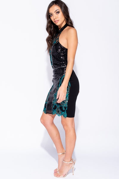 Sequin Halterneck Dress - Miss Vanilla