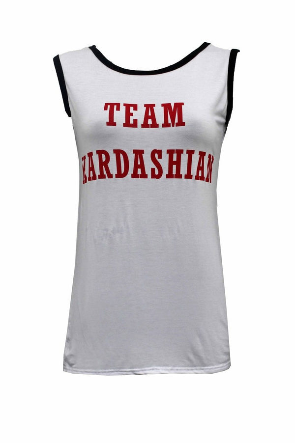 Team Kardashian Vest Top - White - Miss Vanilla