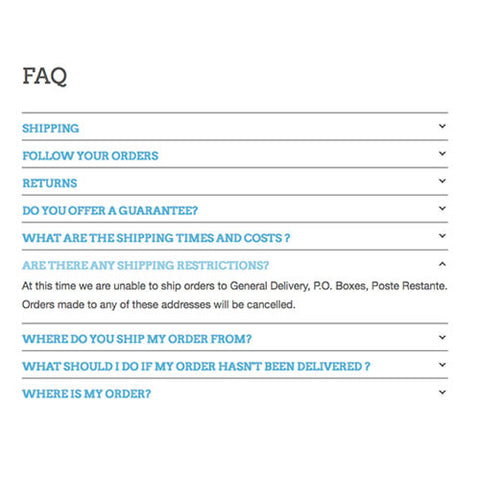 FAQ page accordion layout