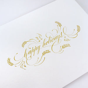 Carte calligraphiée Happy Holidays