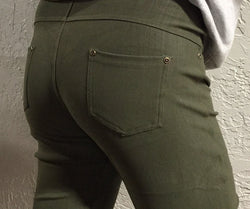 Olive Denim Leggings- Regular AND Plus