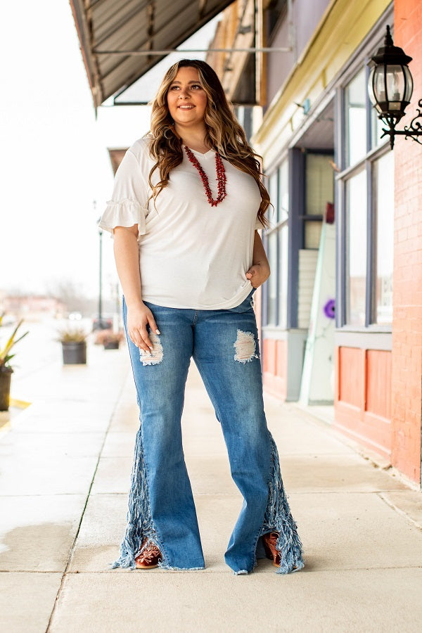 L&B Light Wash Flare Jeans w/ Fringe