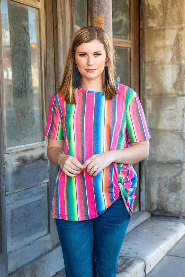 Pink Serape Basic Knot Top