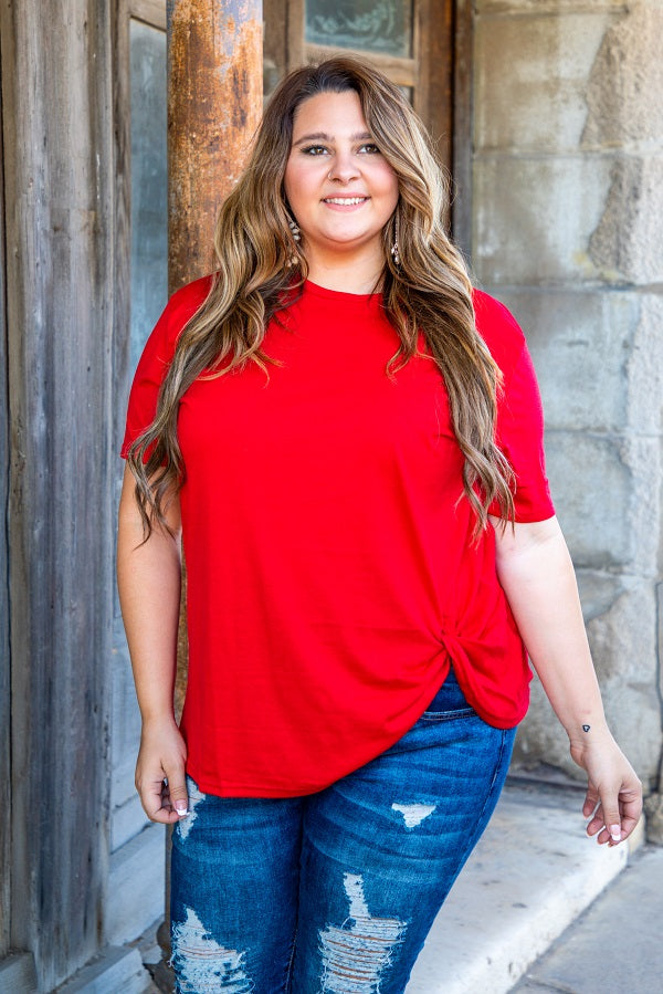 Red Basic Knot Top