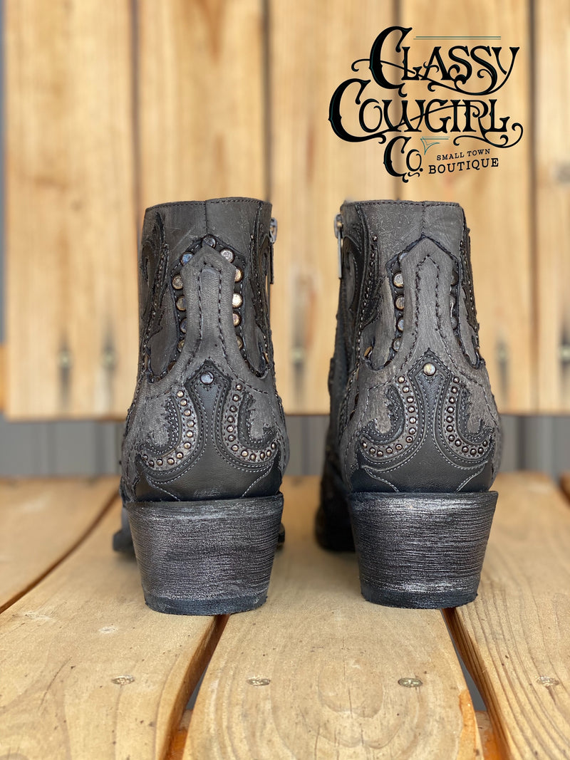Corral Black/Grey Studded Bootie G1381