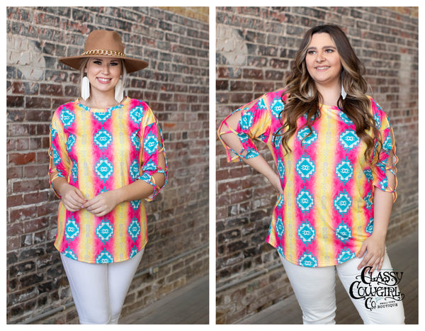 Pink & Turquoise Aztec Print Criss Cross 3/4 Sleeve Top