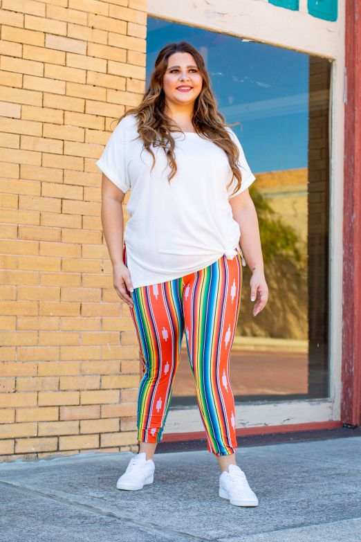 Coral Serape Basic Leggings