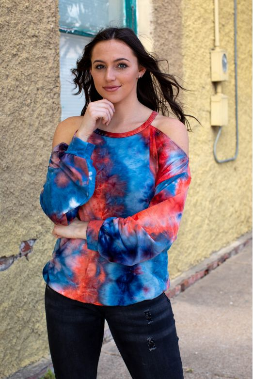 Orange & Blue Tie Dye Cold Shoulder Sweatshirt w/ Slits