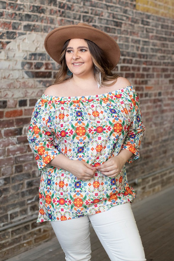 Floral  High Low Off Shoulder Top