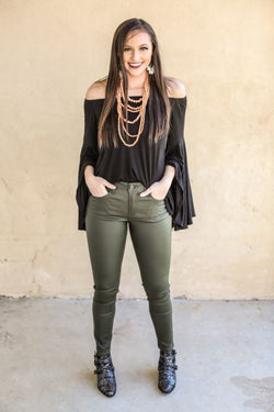 L&B Olive Faux Leather Skinny Pants