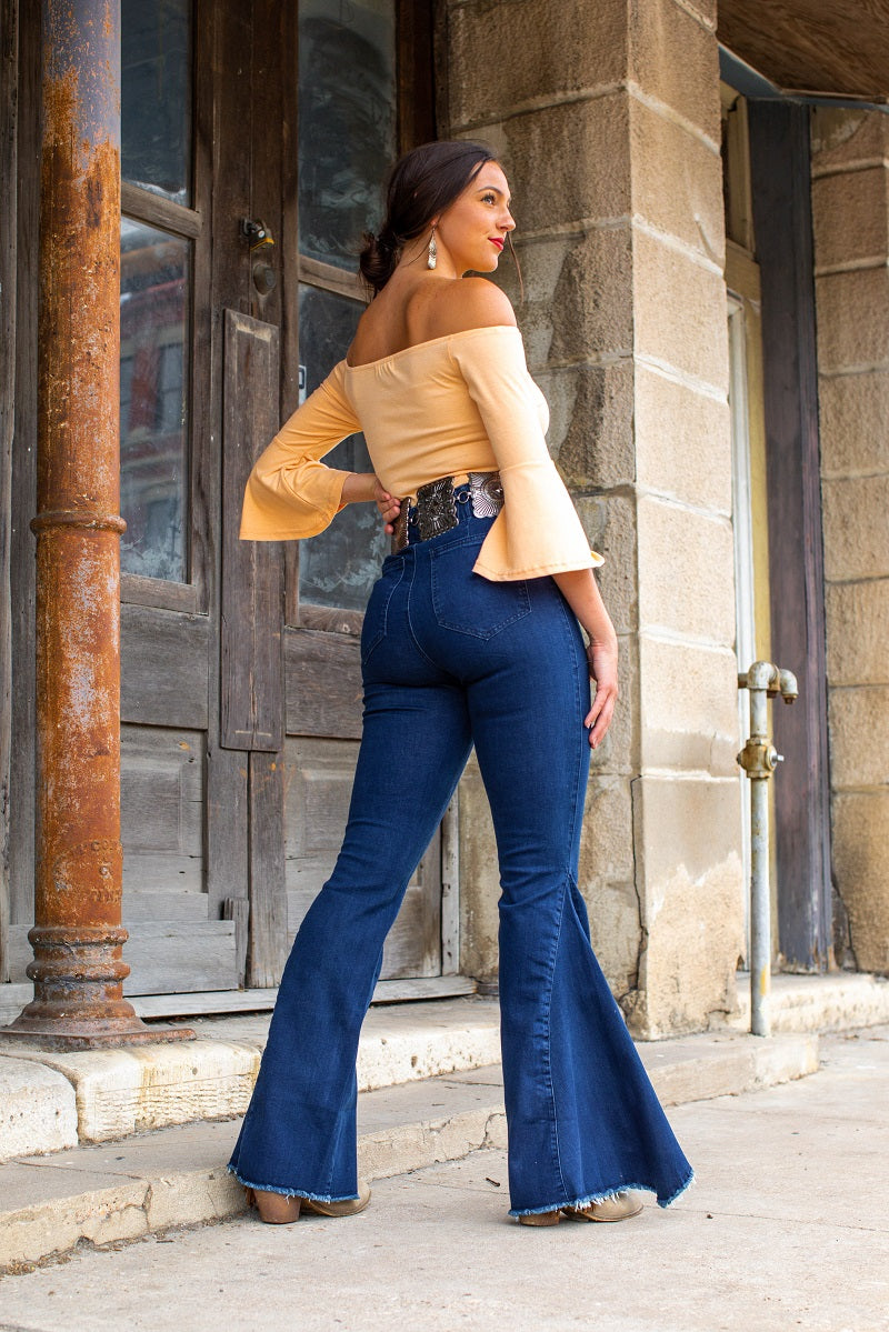 L&B Stretchy Long Super Bell Bottoms- HXY02 - blue
