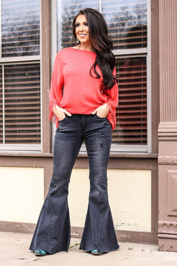 Black Super Bell Bottom Jeans #18018