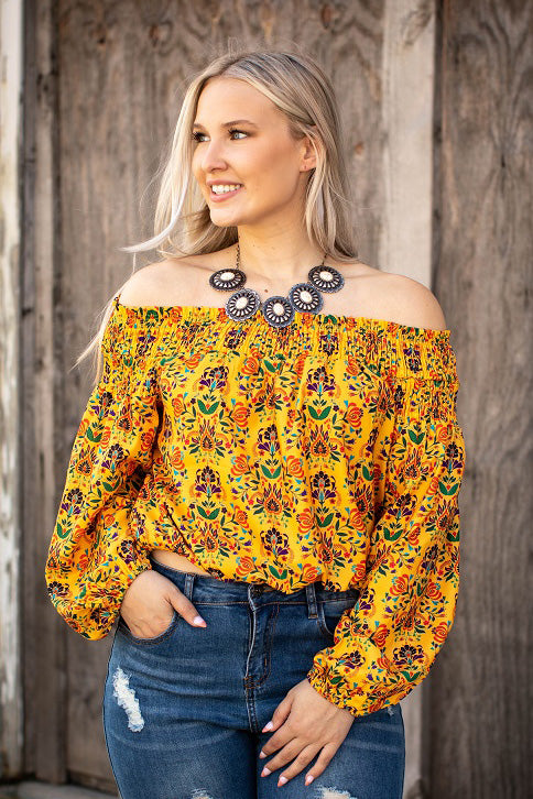 Mustard Floral Smocked Off The Shoulder Top