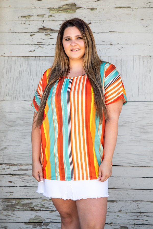 Peach Stripe Oversized Scoop Neck