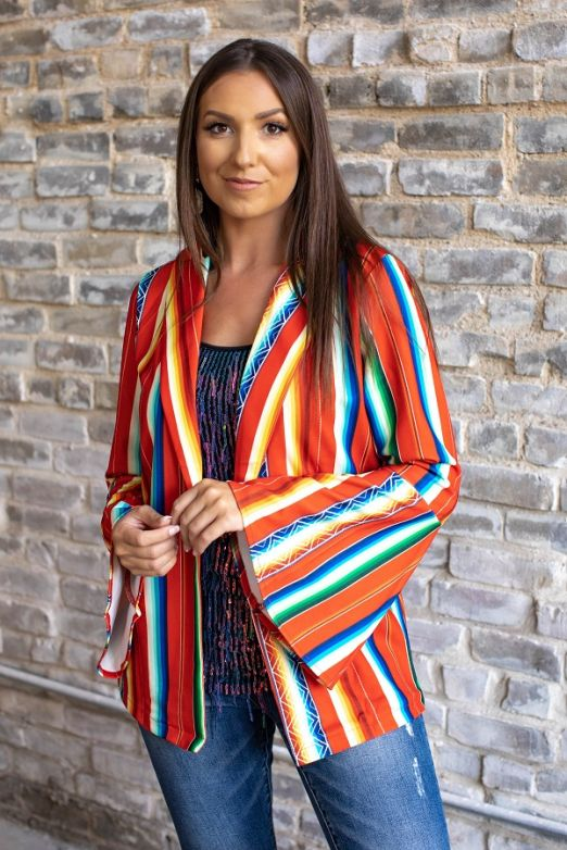 Red Serape Bell Sleeve Blazer
