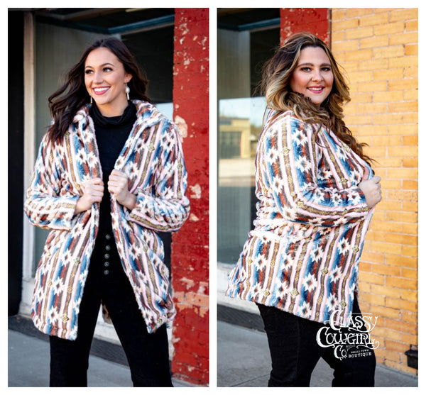 Aztec Print Faux Fur Coat