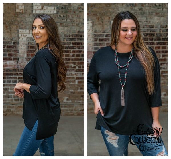 Black Scoop Neck 3/4 Sleeve Tunic with Side Slits