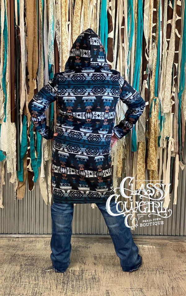 Classy Cowgirl Blue Aztec Duster with Hood ( Small thru 3X)