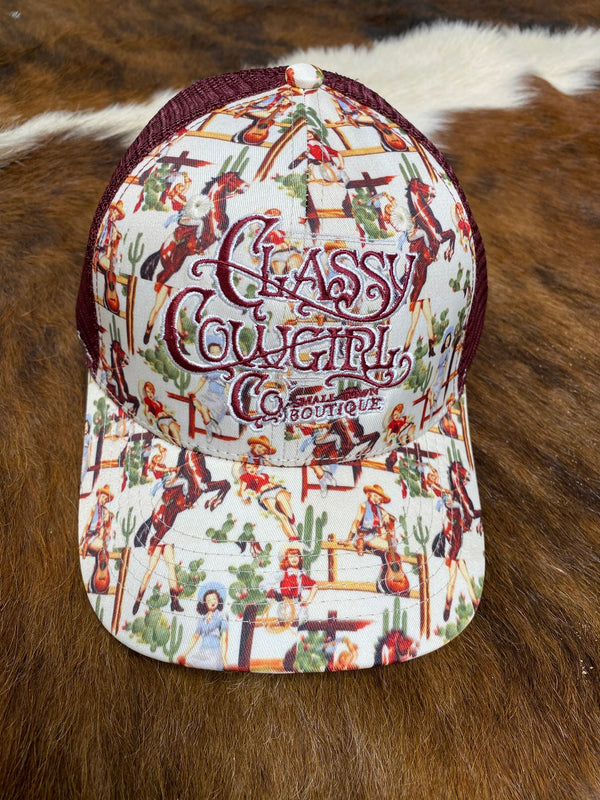 Classy Cowgirl Co Vintage Cowgirl Print Cap