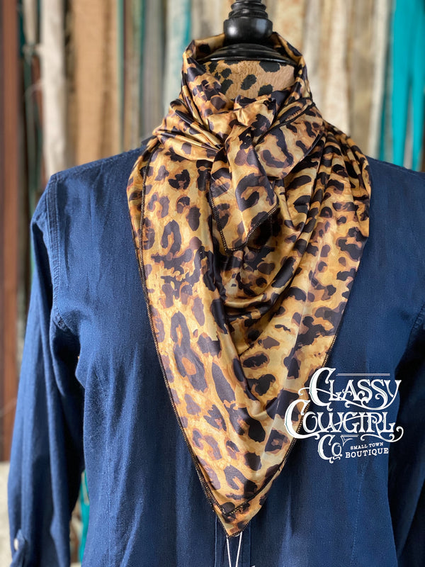 Classy Cowgirl Large Leopard Wild Rag
