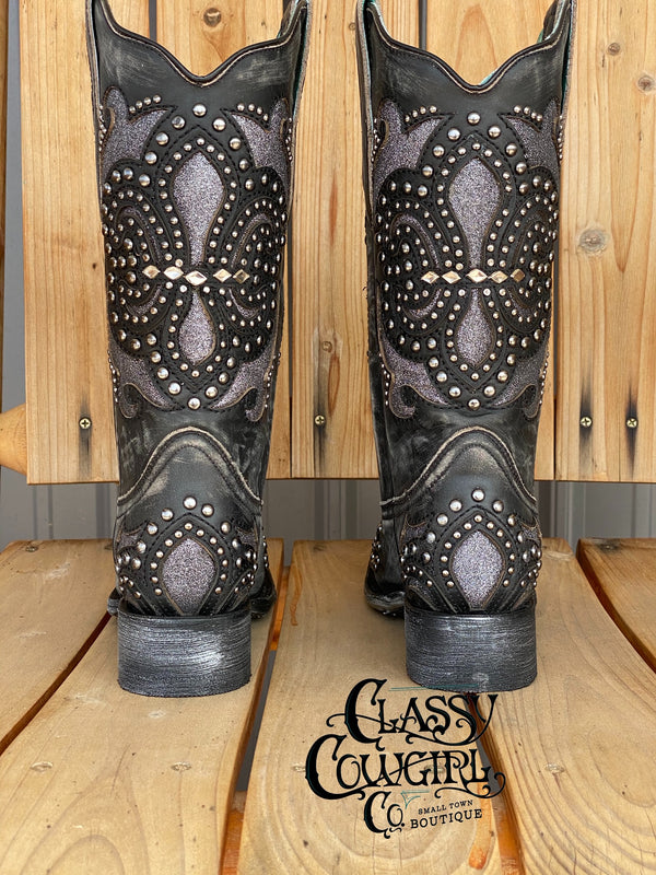 Corral Black Square toe boot with studs and glitter inlay E1534