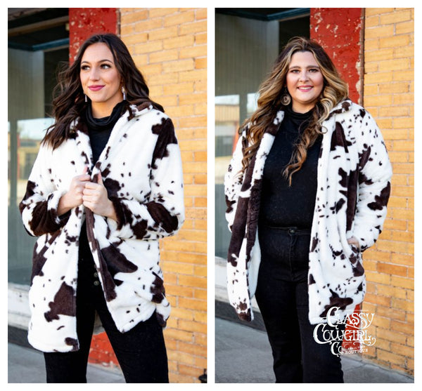 Cowhide Print Faux Fur Coat