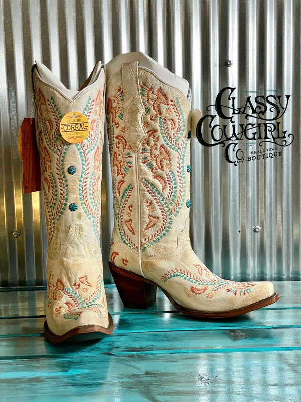 Corral Ivory boots with turquoise stones A3960