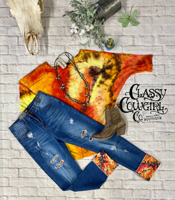 L&B Dark Wash Boyfriend Jeans w/ Tie Dye Patches & Cuffs # 20016