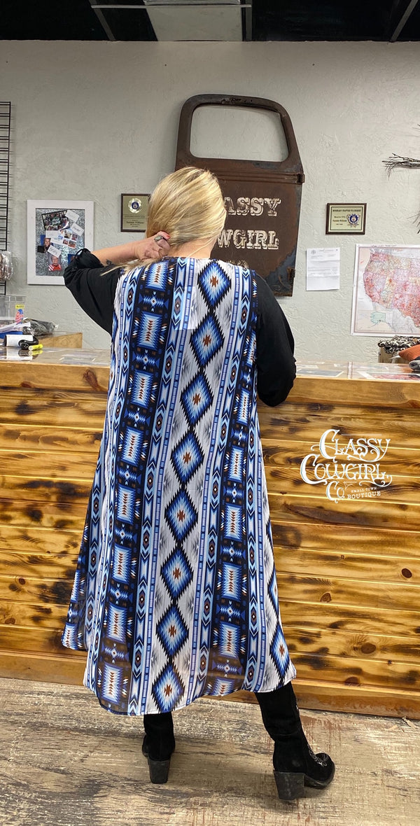 Classy Cowgirl Blue Aztec Duster Vest
