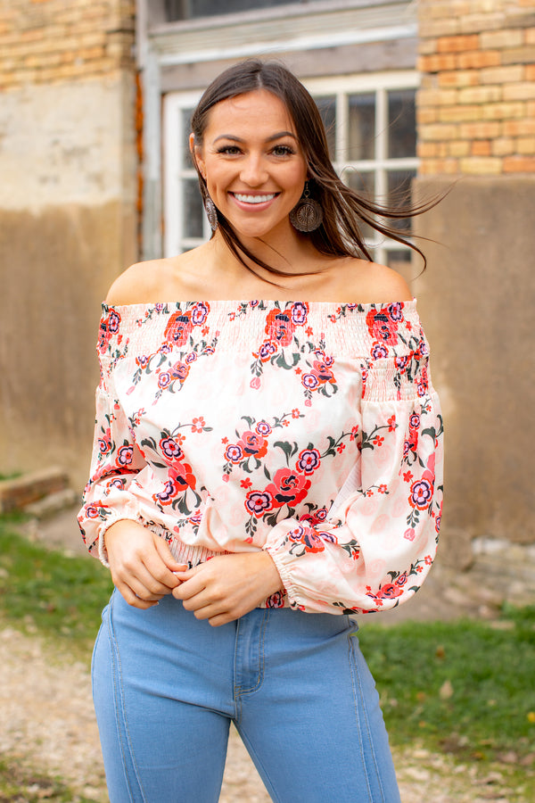Floral Paisley Sand Coral Smocked Off The Shoulder Top