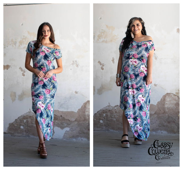 Navy Mauve Floral Print Off The Shoulder Maxi Dress With Asymmetrical Hem